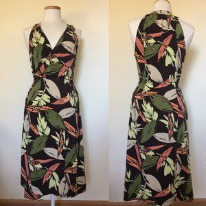 BCBGMaxAzria Tropical Leaf Wrap Dress  L